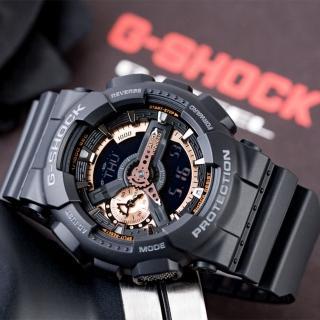 【CASIO 卡西歐】G-SHOCK 重機狂野潮流概念錶-消光黑x金(GA-110RG-1A)