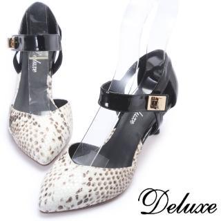 【Deluxe】仿蛇紋羊皮尖頭低跟鞋(黑色)