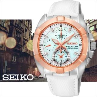 【SEIKO 精工】VELATURA 海洋之心 真鑽計時腕錶(白x玫瑰金/7T92-0KS0S)