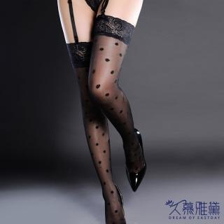 【久慕雅黛】魅惑巴黎·蕾絲精緻性感大腿襪。蕾絲大圓點(性感黑)