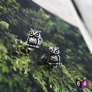 【ART64】貓頭鷹 owl 925純銀耳環(動物耳環)