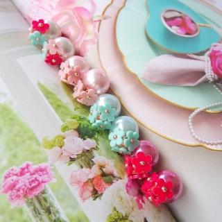 【梨花HaNA】粉彩綻放小花卉雙面珍珠耳環