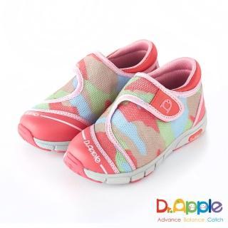 【Dr. Apple 機能童鞋】拉風迷彩透氣休閒童鞋(粉紅)