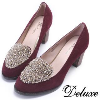 【Deluxe】酒紅奢華水晶包頭跟鞋(酒紅)
