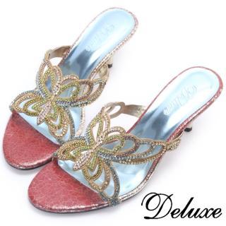 【Deluxe】美麗蝴蝶彩鑽涼跟鞋(紅色)