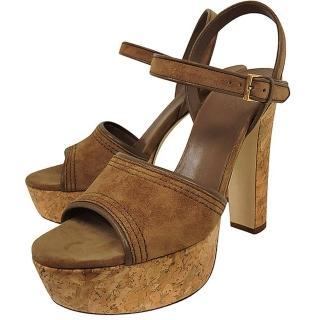 【GUCCI】麂皮厚底高跟鞋-37.5號(咖啡色)