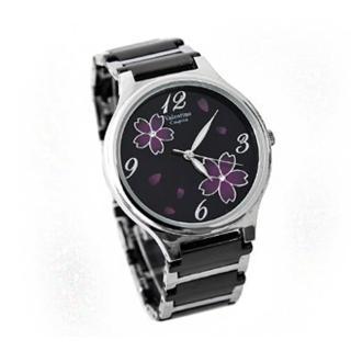 【Valentino范倫鐵諾】圓弧浪漫櫻花精密陶瓷不鏽鋼手錶
