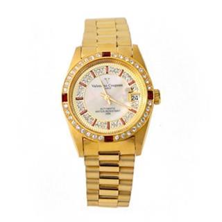 【Valentino范倫鐵諾】全金色系滿天星珍珠貝面錶盤背面鏤空自動上鍊機械手錶