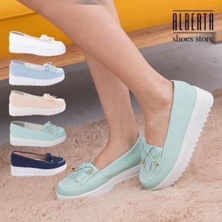 【Alberta】馬卡龍色系 莫卡辛流蘇蝴蝶結 厚底增高5CM鬆糕鞋 小白鞋(綠色)