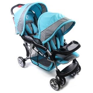 【BabyBabe】歐風雙人手推車(藍)
