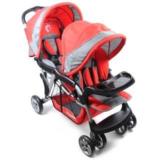 【BabyBabe】歐風雙人手推車(紅)