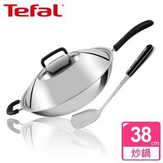 【Tefal 法國特福】多層鋼38CM單柄炒鍋(附鍋蓋+鍋鏟)