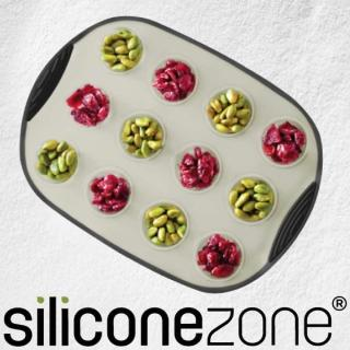 【Siliconezone】施理康耐熱矽膠12連杯子蛋糕模(灰/黑)