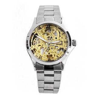 【Valentino范倫鐵諾】自動上鍊機械腕錶 雙面鏤雕手錶 金色錶盤