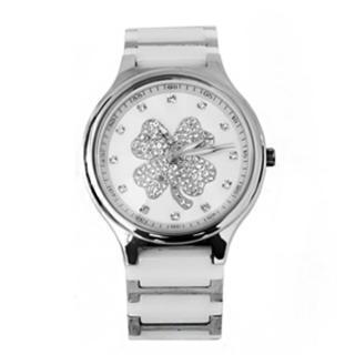 【Valentino范倫鐵諾】幸運草水鑽精密陶瓷不鏽鋼手錶腕錶