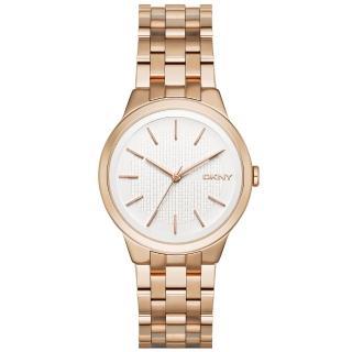 【DKNY】風華紐約韻味時尚腕錶-白X玫瑰金(NY2383)