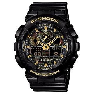 【CASIO 卡西歐 G-SHOCK 系列】黑金迷彩紋路錶盤_雙顯男錶(GA-100CF-1A9)