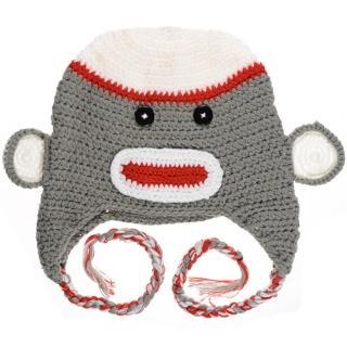 【美國 juDanzy】毛線帽_灰色猴子(509)