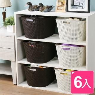 【真心良品】藤蔓開放式手提收納整理盒(6入)