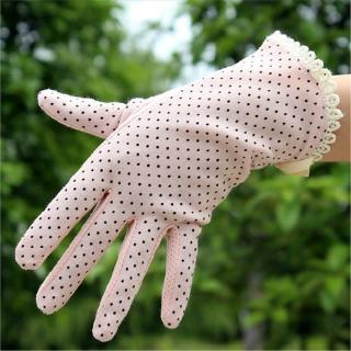 【香草花園】點點蕾絲純棉防曬手套/防滑手套/護手套 修飾手型款