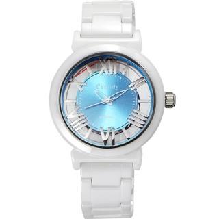 【Canody】羅馬浮雕 雙鏤空陶瓷腕錶(白x藍/35mm/CB1220-1C)