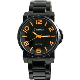 【Canody】酷黑玩色搶眼橘世代時尚腕錶(黑x橘時標/42mm-GM2592-G)