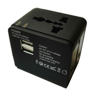 【BosVision】2.1A 雙USB 旅遊萬用轉接頭