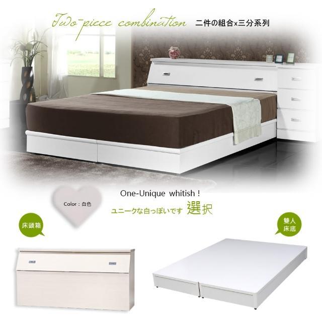 【Maslow-房東首選】雙人床頭箱+3分床底(白色)