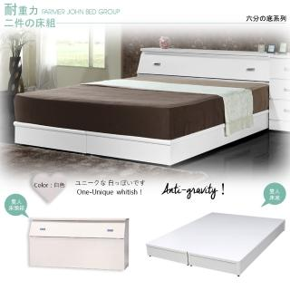 【Maslow-房東精選】雙人5尺床頭箱+耐重6分床底(白色)
