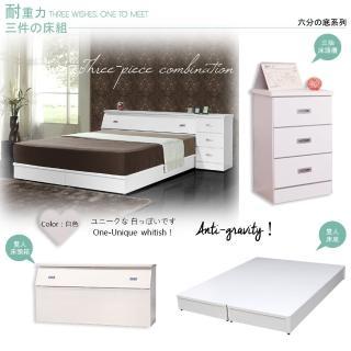 【Maslow-房東精選】雙人5尺床頭箱+6分床底+3抽櫃(白色)