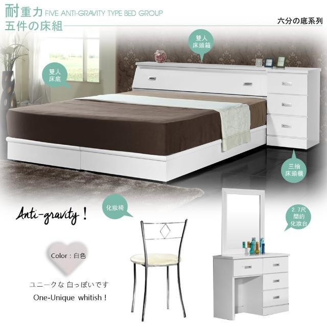 【Maslow-房東加強型】雙人五件式房間組(白)