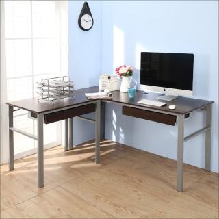 【BuyJM】低甲醛防潑水L型160+80公分雙抽屜穩重型工作桌