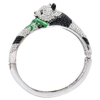 【Glitz London】熊貓竹青造型水鑽壓釦金屬手鐲/手環(85339L4)