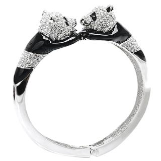 【Glitz London】雙熊貓水鑽彈性金屬手鐲/手環(85349L4)