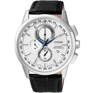 【CITIZEN】Eco-Drive 萬年曆電波腕錶-銀/43mm(AT8110-11A)
