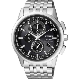 【CITIZEN】Eco-Drive 萬年曆電波腕錶-黑/43mm(AT8110-61E)