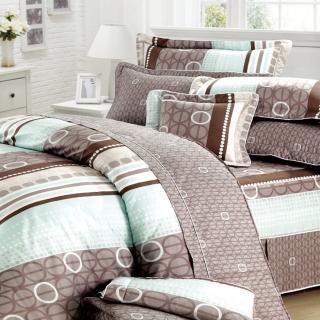 【艾莉絲-貝倫】甜蜜圈圈(5.0呎x6.2呎)四件式雙人(100%純棉)鋪棉涼被床包組(咖啡白)