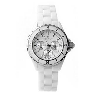 【Valentino范倫鐵諾】名媛精密陶瓷腕錶 專櫃藍寶石鏡片手錶 真三眼玫瑰金