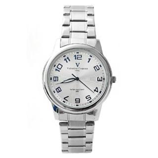 【Valentino范倫鐵諾】立體波浪紋數字美學不鏽鋼手錶對錶 原廠公司貨