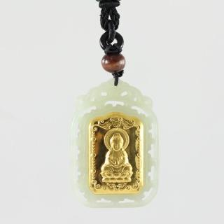 【金玉滿堂】天然和闐白玉寶瓶觀音玉鑲金