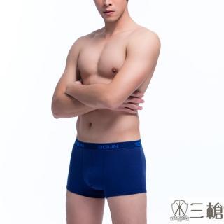 【三槍牌】時尚經典純棉型男彈力棉平口褲-3件組(隨機取色)