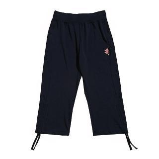 【KAPPA】舒適時尚女吸濕排汗彈力棉韻律七分褲(丈青)