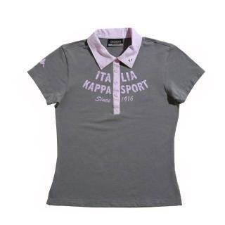 【KAPPA】KAPPA義大利舒適時尚女彈力棉彩色POLO衫(灰 粉紅)