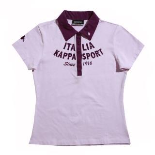 【KAPPA】KAPPA義大利舒適時尚女彈力棉彩色POLO衫(粉 紫)