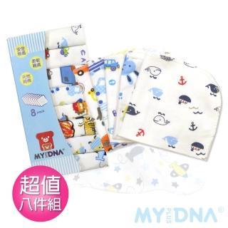 【MY+DNA熊本部】可愛印花小方巾超值八入組-男(不挑款式隨機出貨)