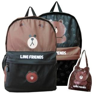 【LINE FRIENDS】休閒後背包+輕質萬用袋(黑/咖_無辜熊大LI10)