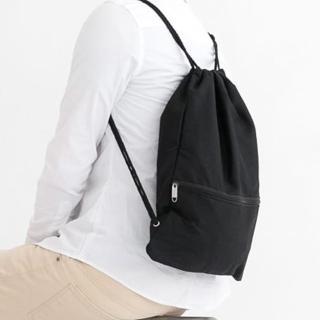 休閒束口袋 簡單素面風格帆布潮流後背包.肩背包 束口包