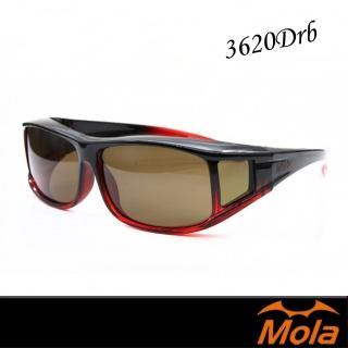【MOLA 摩拉】近視/老花眼鏡族可戴-摩拉時尚偏光太陽眼鏡 套鏡 鏡中鏡(3620Drb)