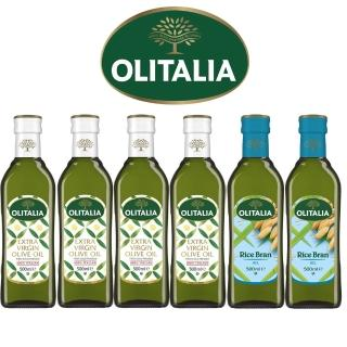 【Olitalia奧利塔】特級冷壓橄欖油+玄米油禮盒組(500mlx6瓶)