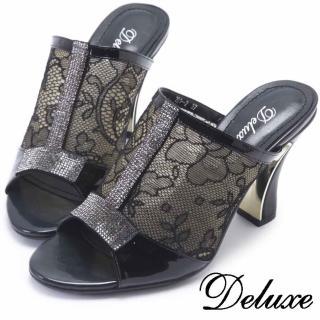【Deluxe】全真皮T字水鑽透膚雕花高跟涼鞋(黑色)